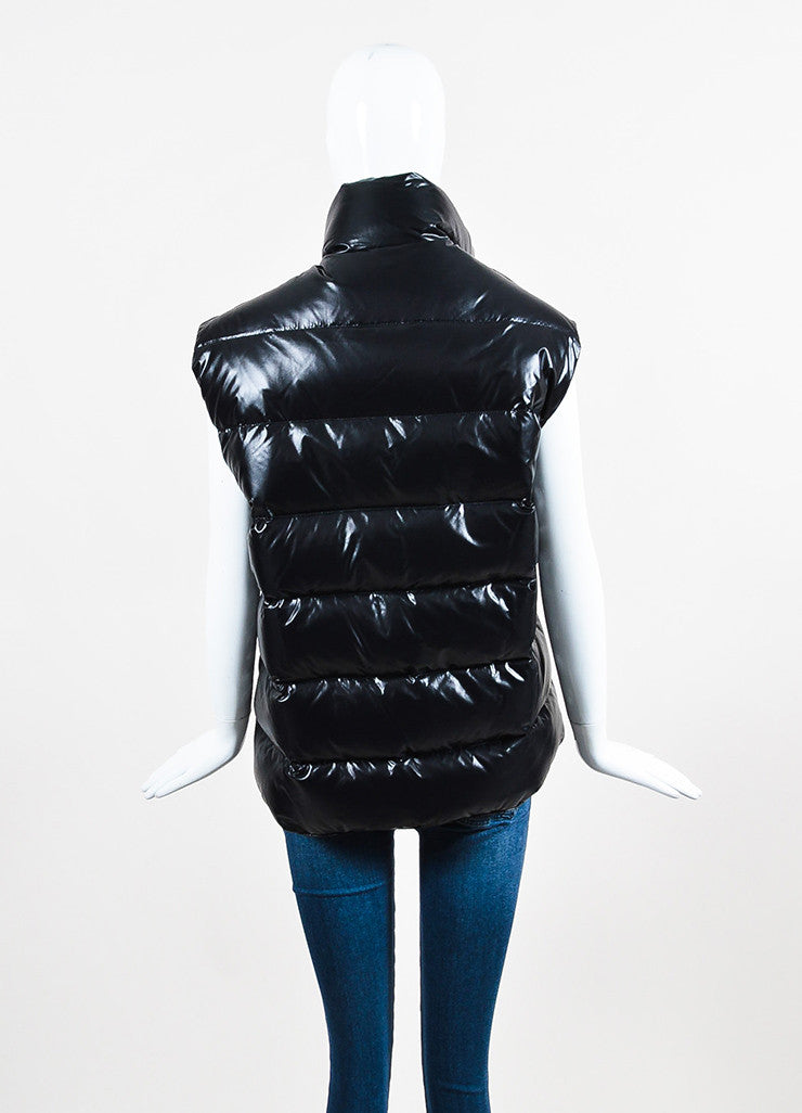 Black Moncler Nylon Down Quilted Puffer Vest Back