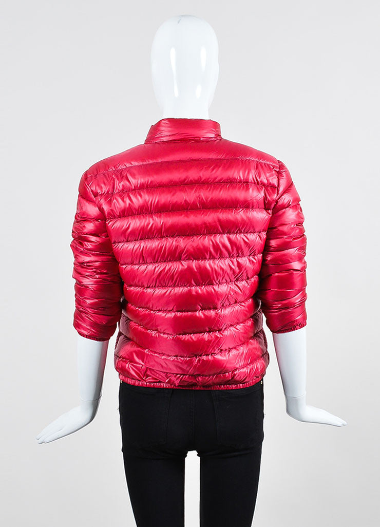 Cherry Red Moncler Channeled Puffer Stand Collar Jacket Backview