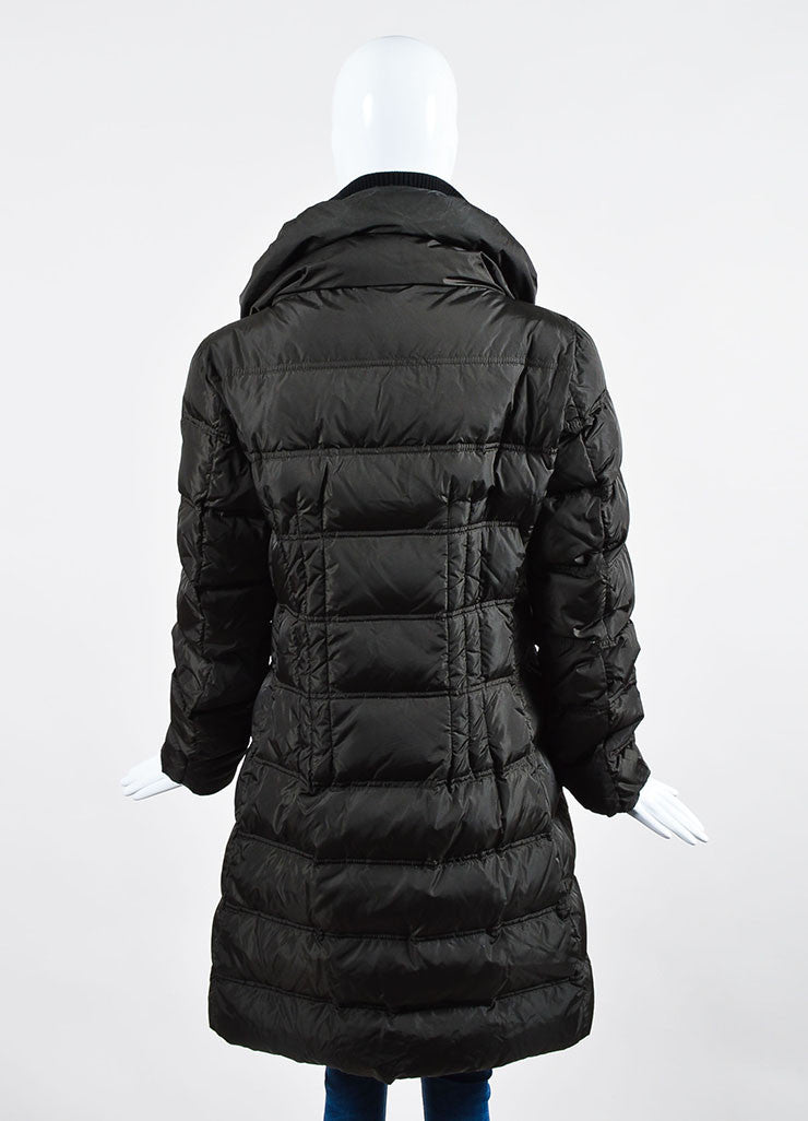 Dark Grey Moncler Nylon Down Quilted Knit Collar Puffer Coat Backview