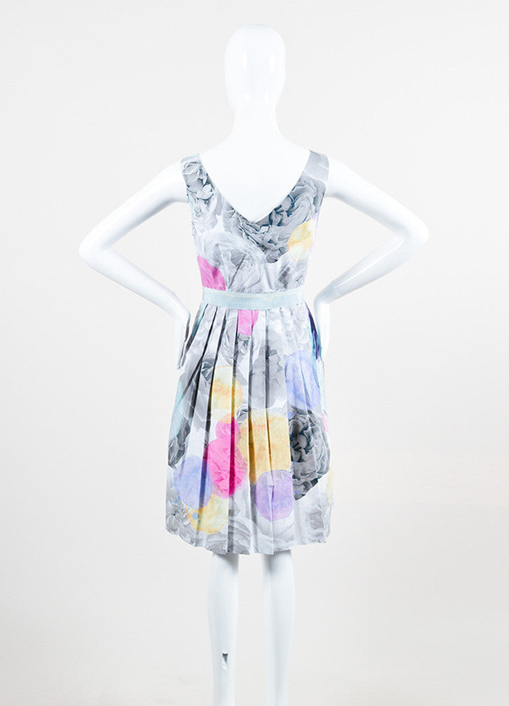 Moschino Cheap and Chic Grey and Pink Cotton Crochet Stripe Pleated Sleeveless Dress Backview