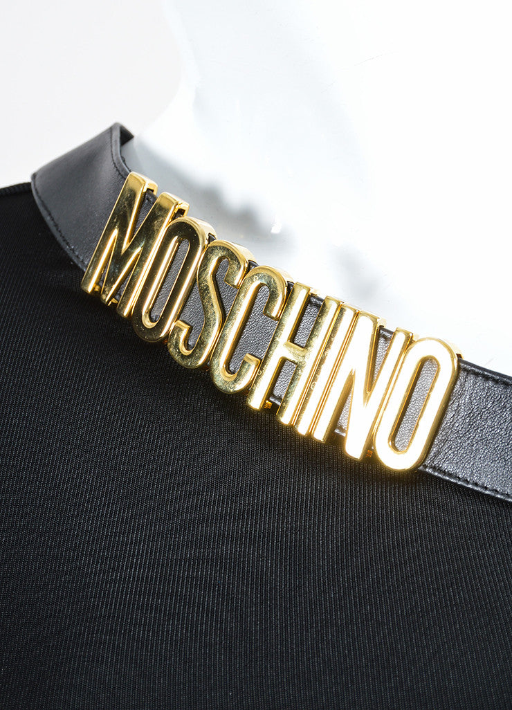 Black Moschino Leather Trim Logo One Sleeve Top Detail