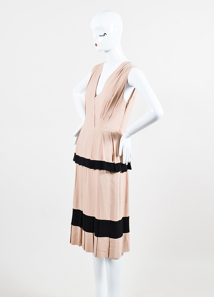 Nude and Black Moschino Pleated Tier V-Neck Sleeveless Dress Sideview