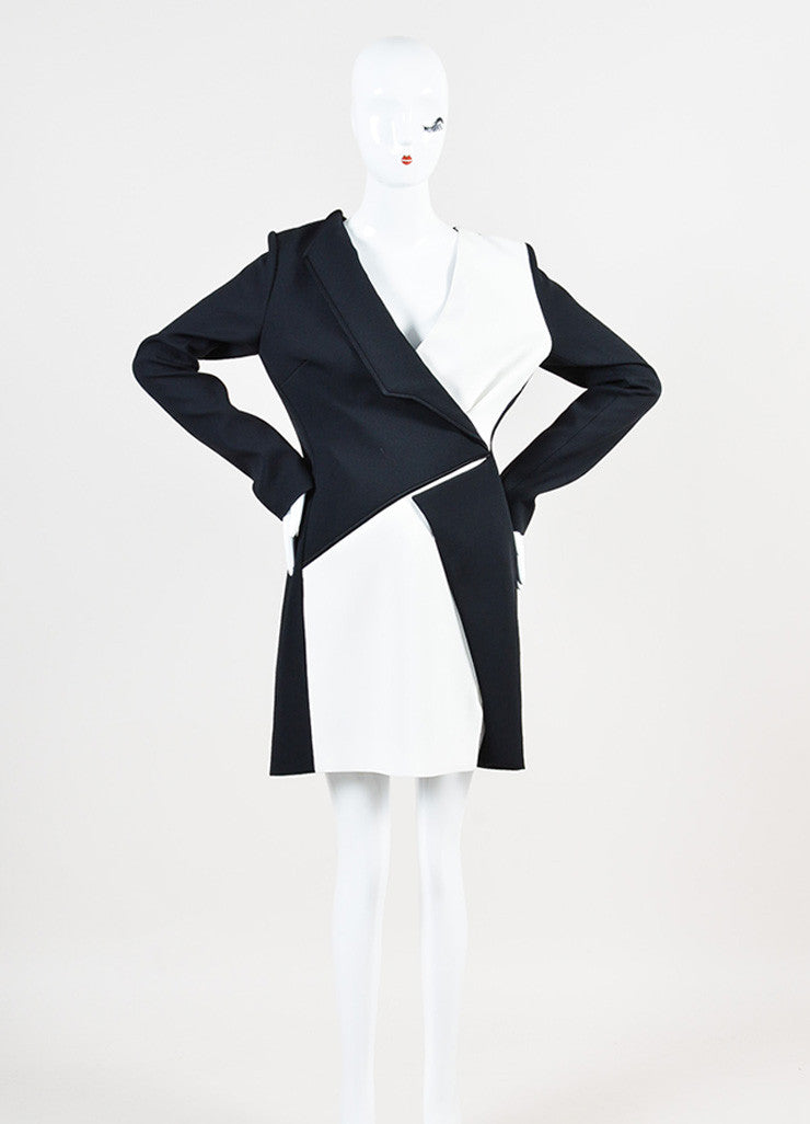 Mugler Black and White Crepe Color Block Asymmetrical Lapel Dress Frontview