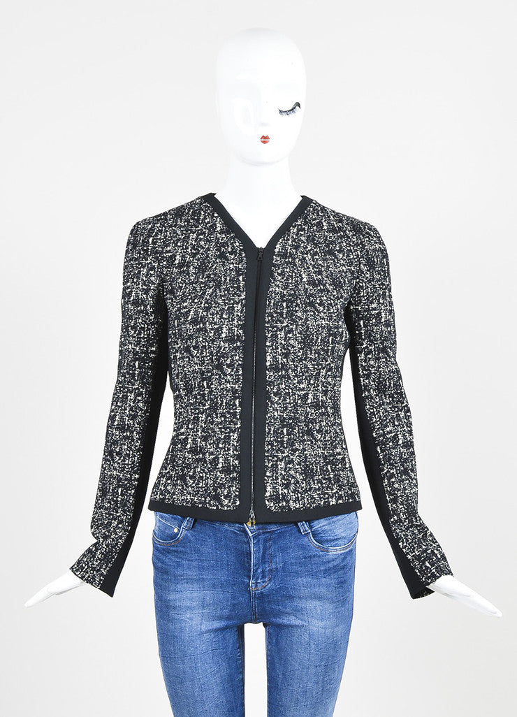 Black and White Narciso Rodriguez Tweed Stretch Scuba Combo Jacket Frontview 2
