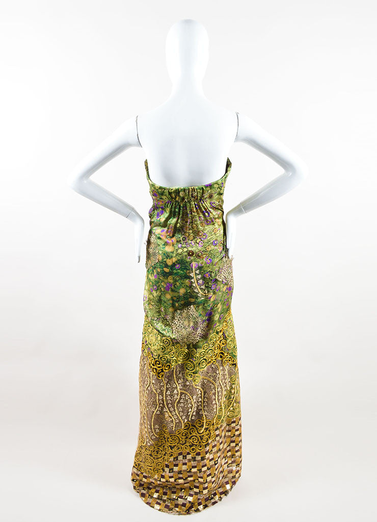 Oscar de la Renta Green, Purple, and Gold Silky Embroidered Strapless Gown Backview