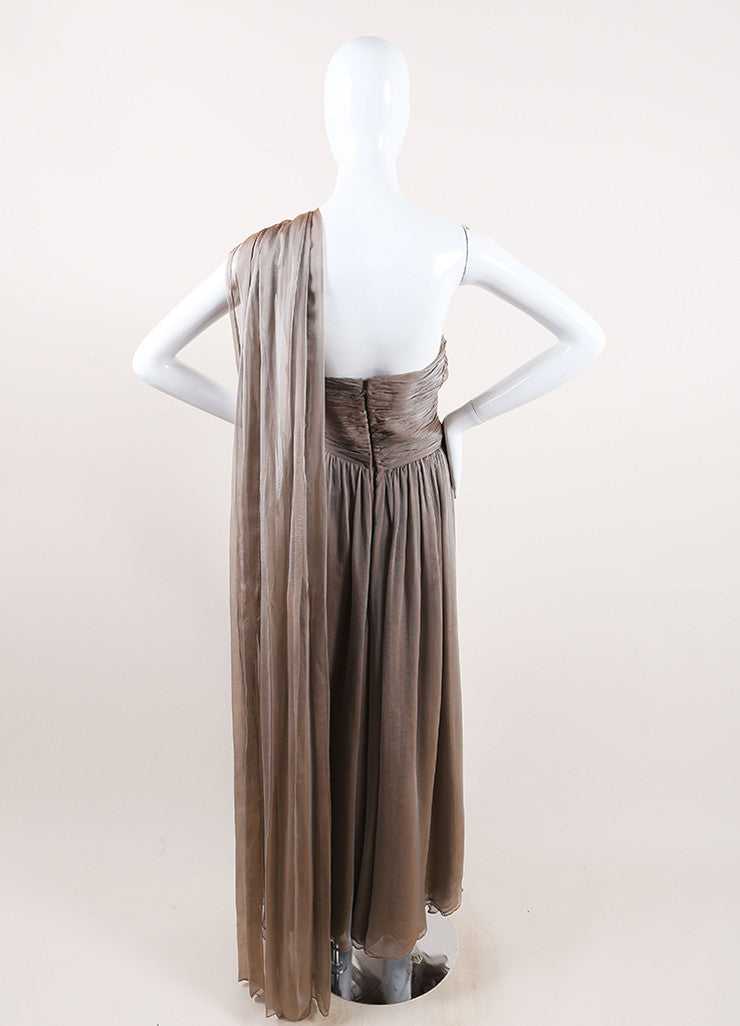 Oscar de la Renta Taupe Chiffon Strapless Draped Tea Length Dress Backview