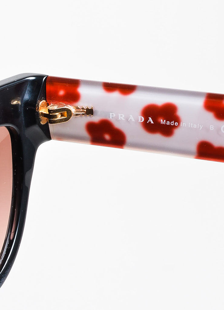 "Prada Black and Multicolor Floral Interior ""SPR29P"" Retro Sunglasses brand 2"