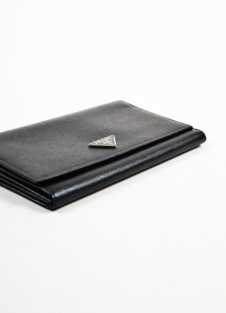 Prada Black Saffiano Leather Continental Wallet Bottom View