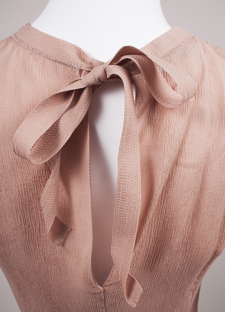 Prada Blush Pleated Tie Back Sleeveless Blouse Detail 2