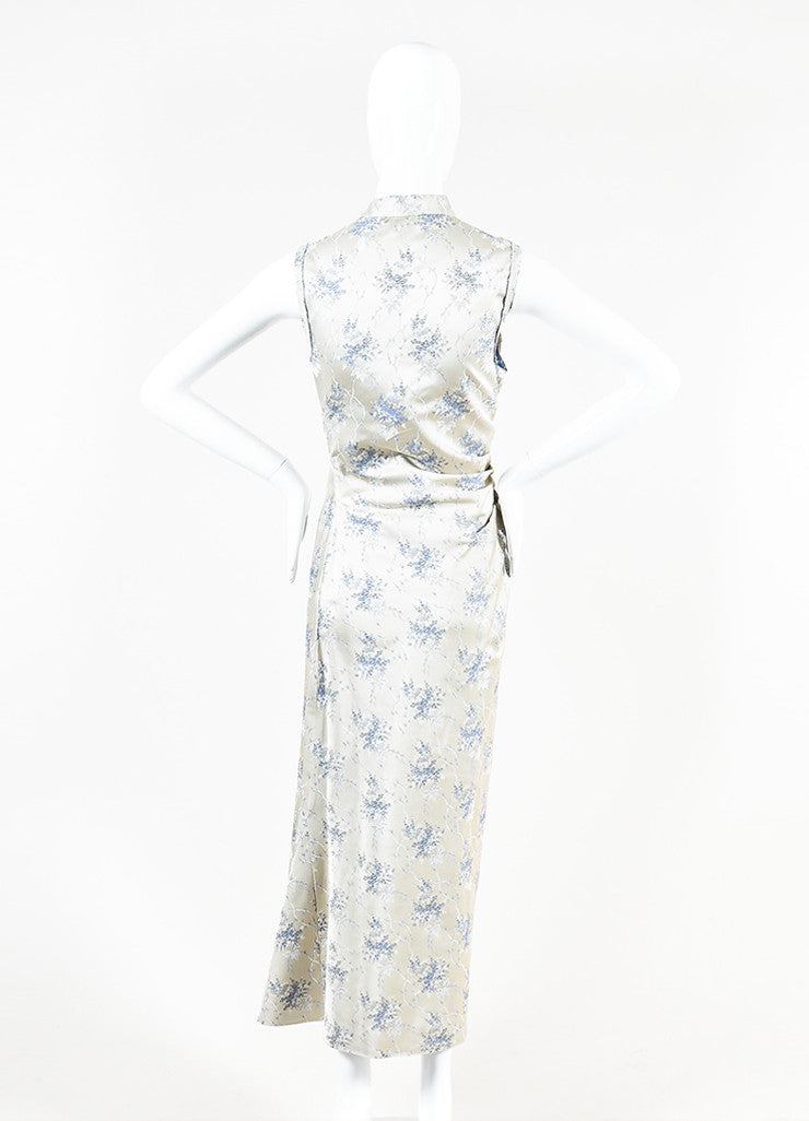 Grey Prada Floral Print Ruched Side Sleeveless Maxi Dress Back