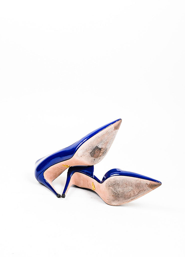 Navy Blue Prada Patent Leather Pointed Toe D'Orsay Pumps Outsoles