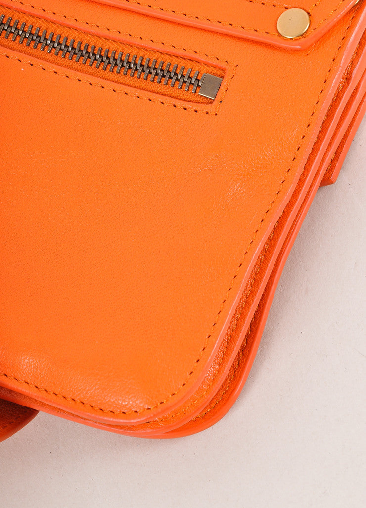 "Proenza Schouler Orange Leather Latch Flap ""PS1 Pochette"" Clutch Bag Detail"