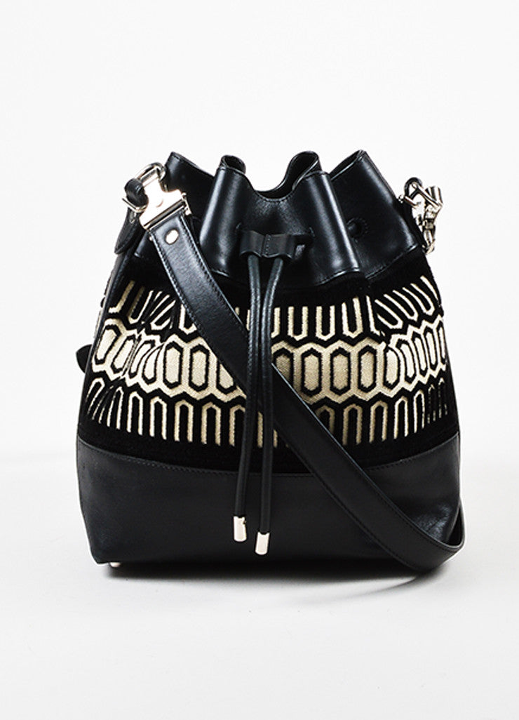 Proenza Schouler Black and Cream Leather Textile Patterned Bucket Bag Frontview