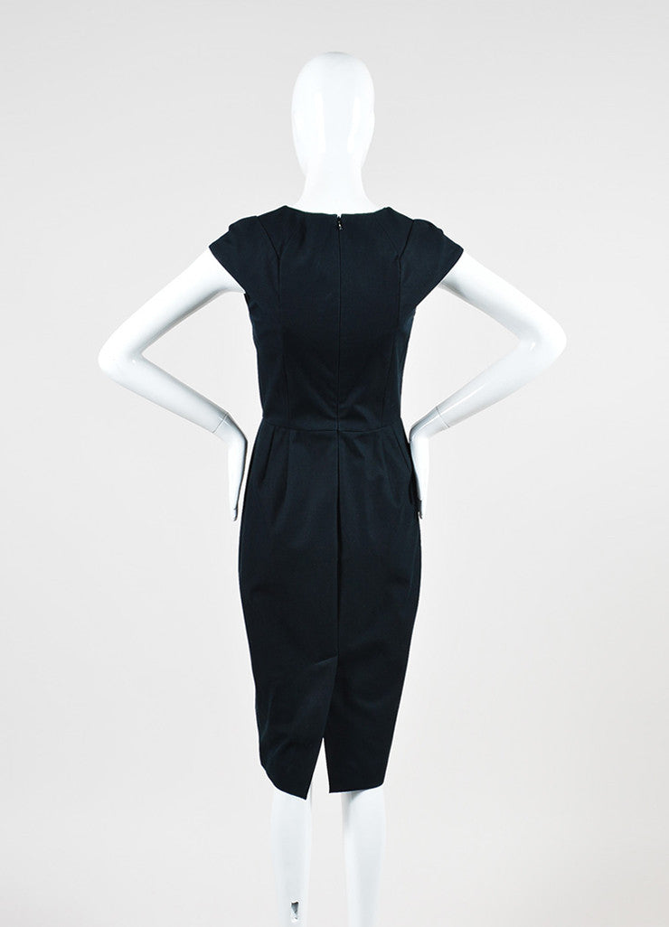 "RM by Roland Mouret ""Mona"" Black Pleated Cap Sleeve Pencil Dress Backview"