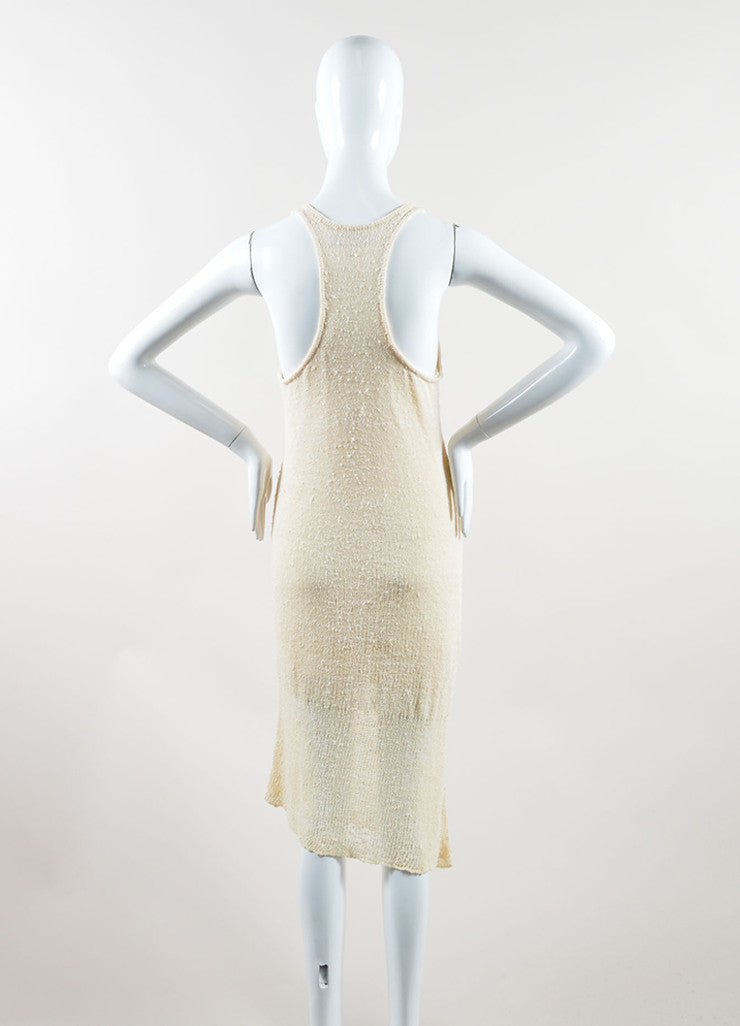 "Rag & Bone Cream Knit Knee Length Asymmetric Racerback ""Bridget"" Tank Dress Backview"