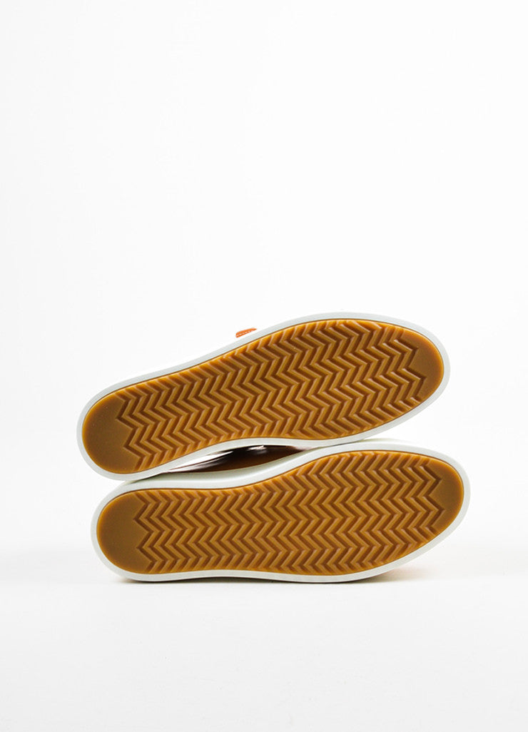 "Tan ""Sand"" and White Rag & Bone Leather ""Kent"" Velcro Low Top Sneakers Outsoles"