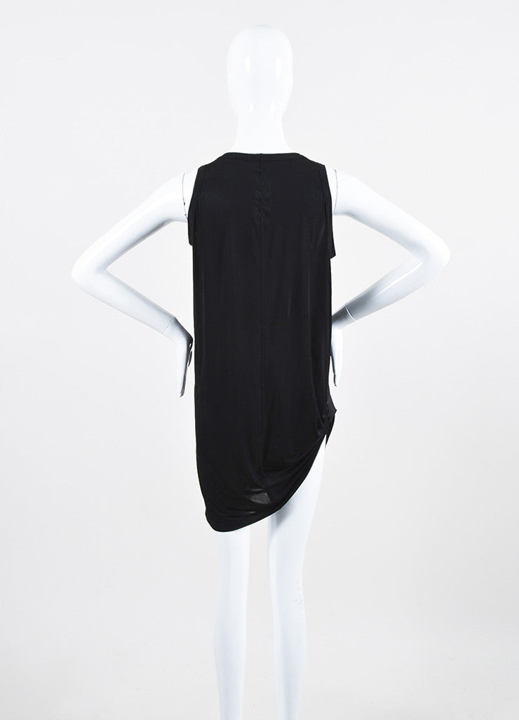 Rick Owens Black Stretch Jersey Gathered Asymmetric Sleeveless Tunic Dress Backview