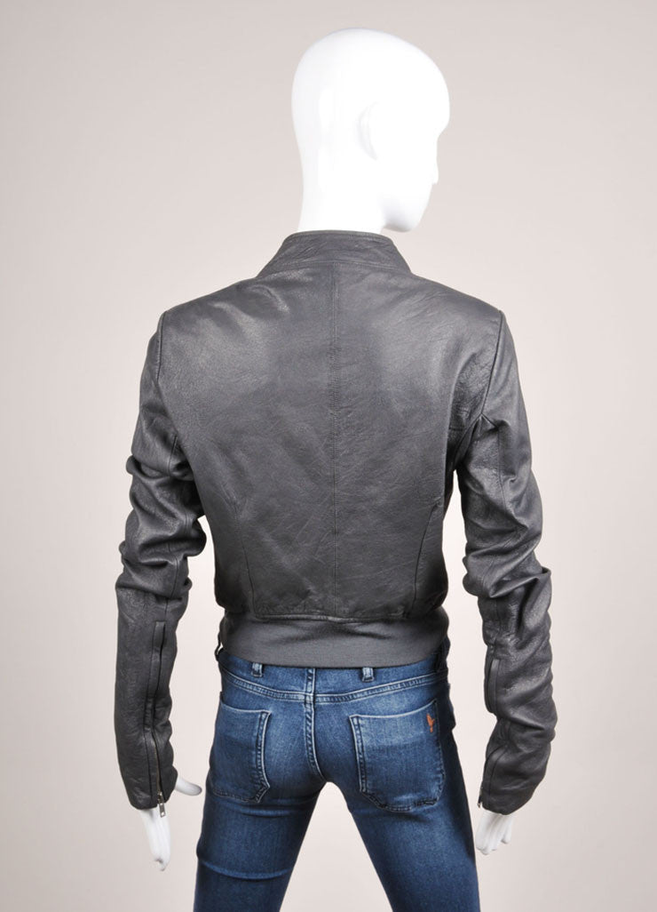 Rick Owens Grey Slanted Zip Leather Bomber Jacket Backview