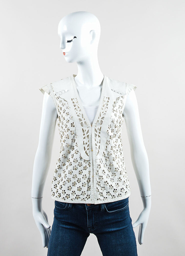 Roberto Cavalli Ivory Leather Perforated Cut Out Vest Frontview