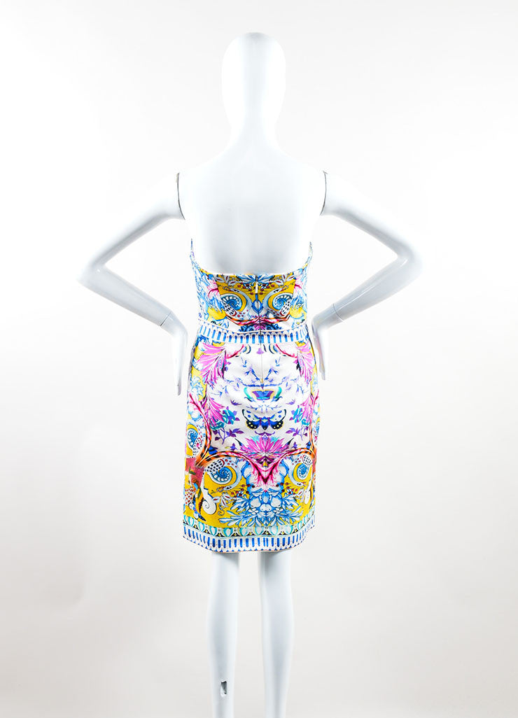 Multicolor Printed Roberto Cavalli Strapless Cocktail Dress Backview