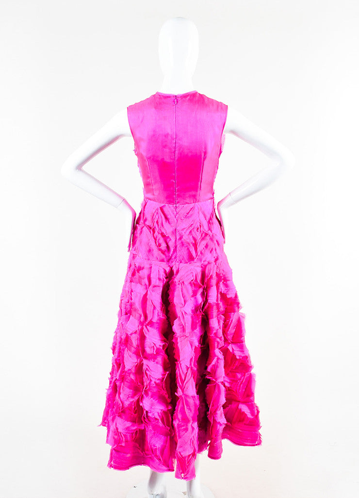 Hot Pink Roksanda Silk Organza Fringe Ruffle Sleeveless Gown Back
