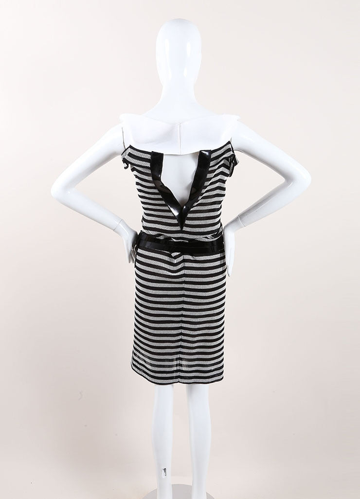 "Roland Mouret Black and White Cotton Striped ""Layan"" Belted Dress Backview"