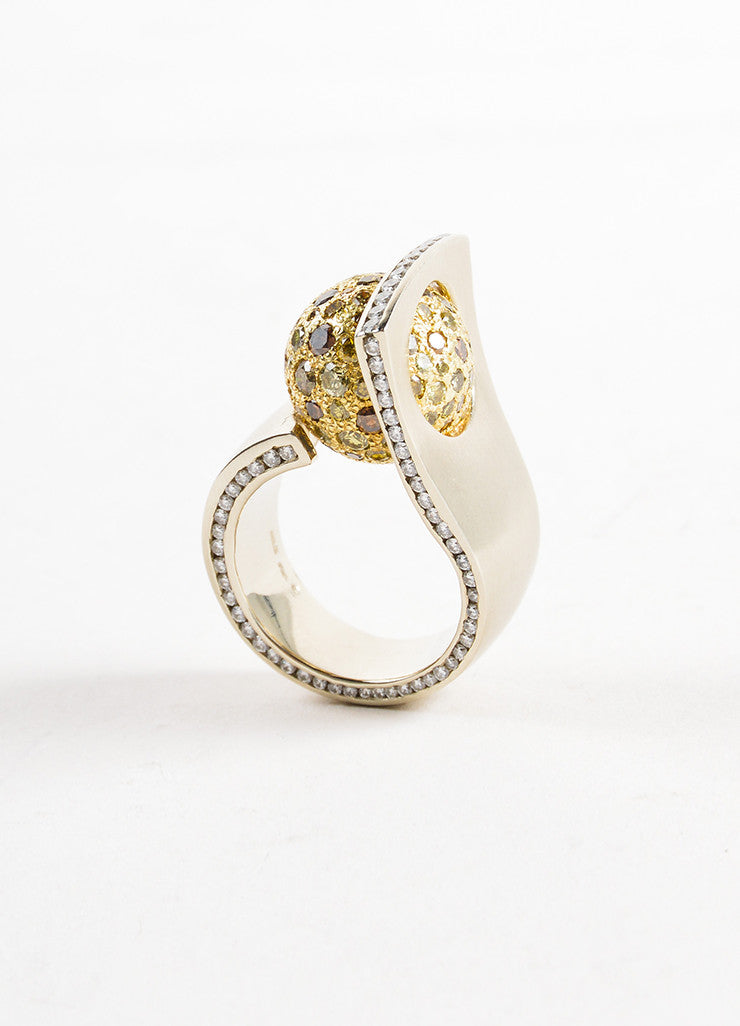 Sherry Bender 14K White Gold and 18K Yellow Gold Diamond Pave Ball Curve Ring Sideview