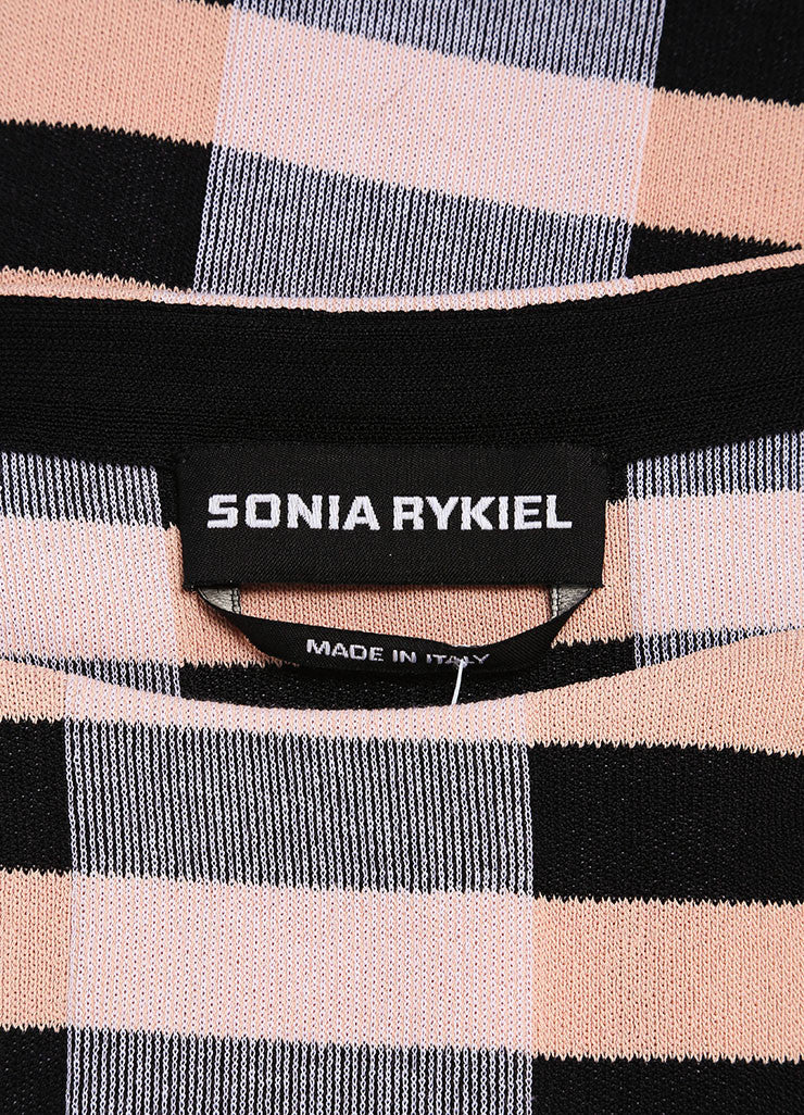 Sonia Rykiel New With Tags Black and Nude Stretch Knit Stripe Bow Print Dress Brand