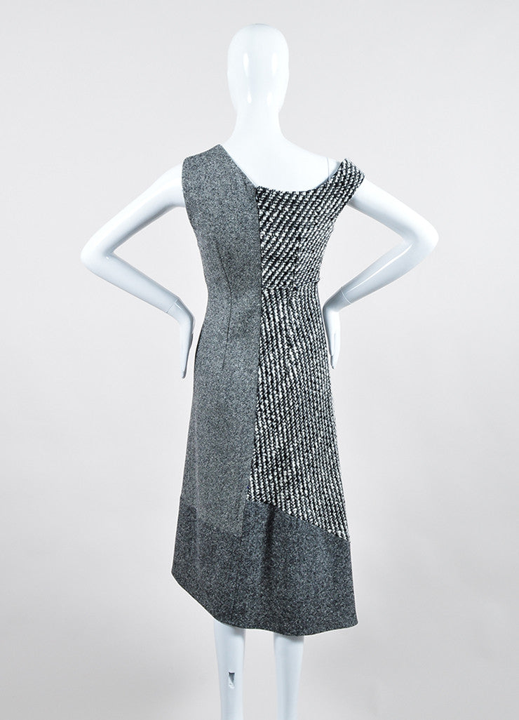 "Grey Wool Tweed Stella McCartney ""Jackie"" Sleeveless Midi Dress Backview"