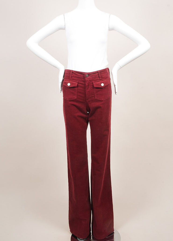 Stella McCartney New With Tags Red Cotton Corduroy Wide Leg Flare Pants Frontview