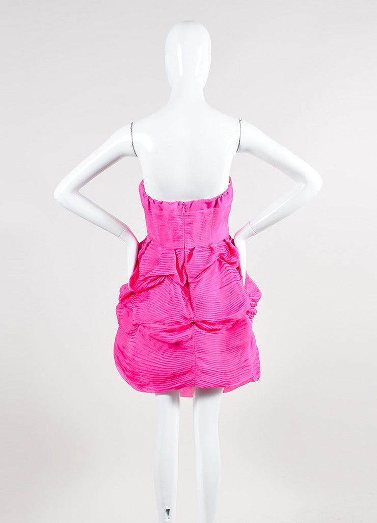 Pink Silk Stella McCartney Pleated Strapless Bubble Dress Backview