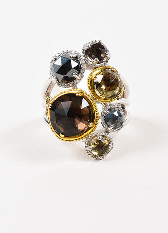 Tacori Sterling Silver, 18K Gold, Diamond, and Quartz Midnight Sun Ring Frontview