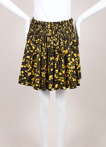 Thakoon Yellow, Black, and Brown Feather Splatter Print Pleated Skater Skirt Frontview
