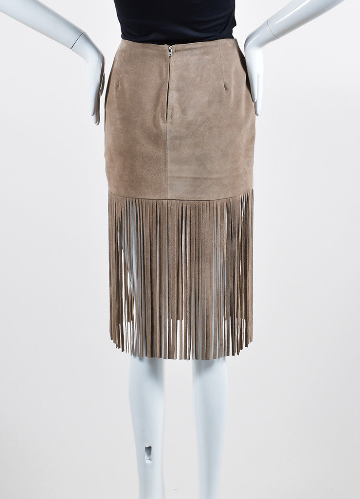 The Perfext Taupe Suede Fringe Mini Skirt Backview