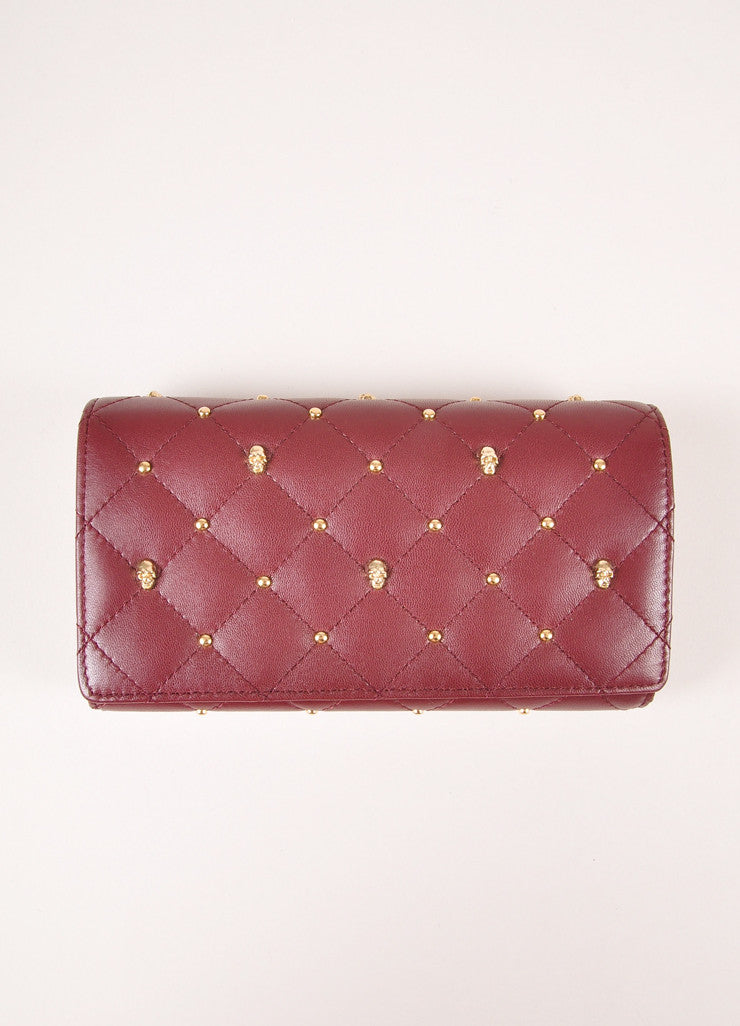 Thomas Wylde New With Tags Burgundy Leather Gold Toned Skull Studded Snap Wallet Frontview