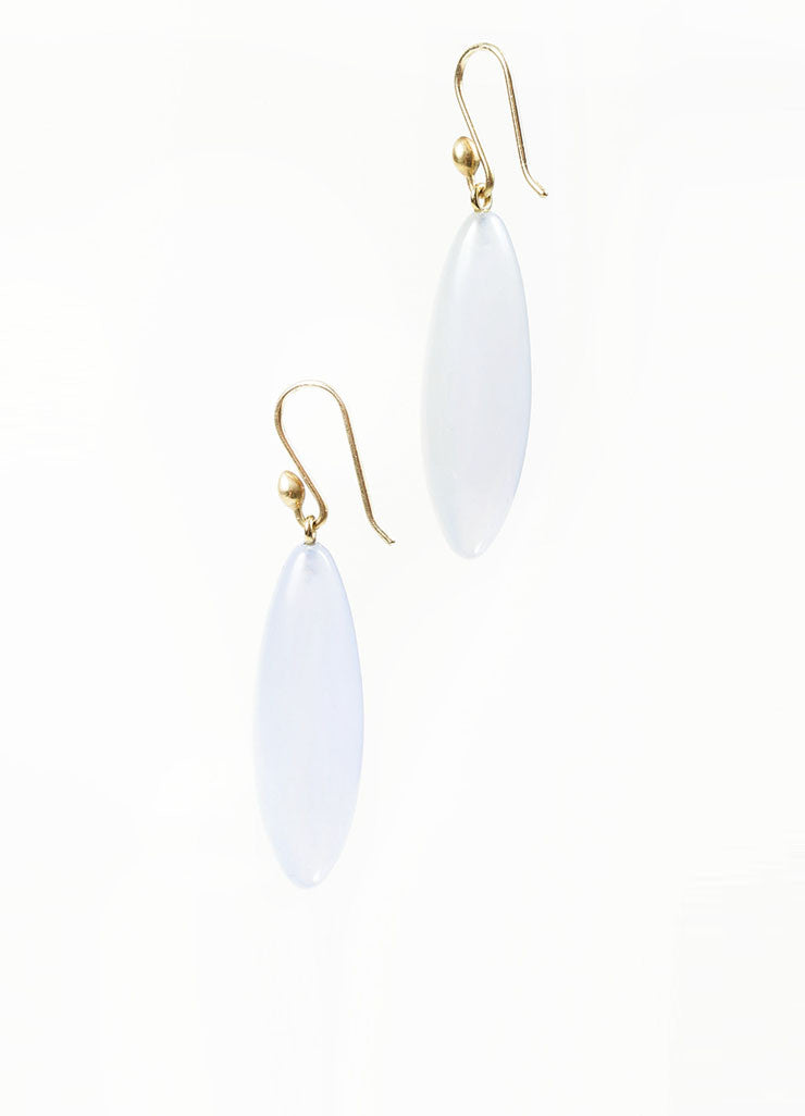 "14K Gold and Blue Chalcedony Gemstone Ted Muehling ""Long Berry"" Drop Earrings Sideview"