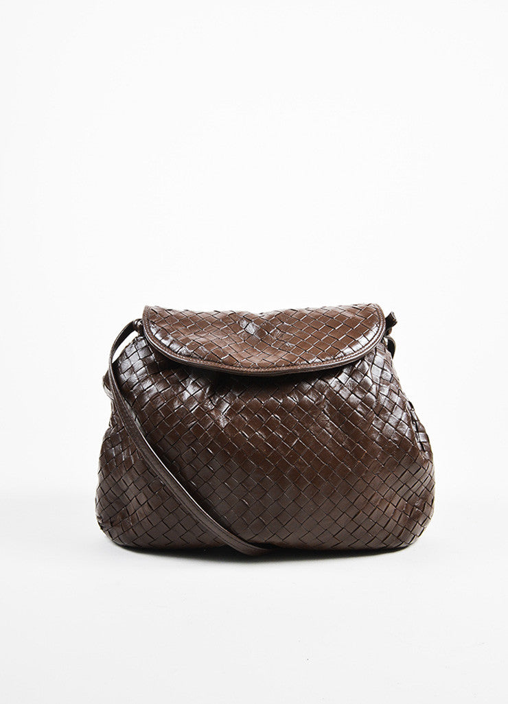 Bottega Veneta Brown Woven Leather Shoulder Bag Frontview