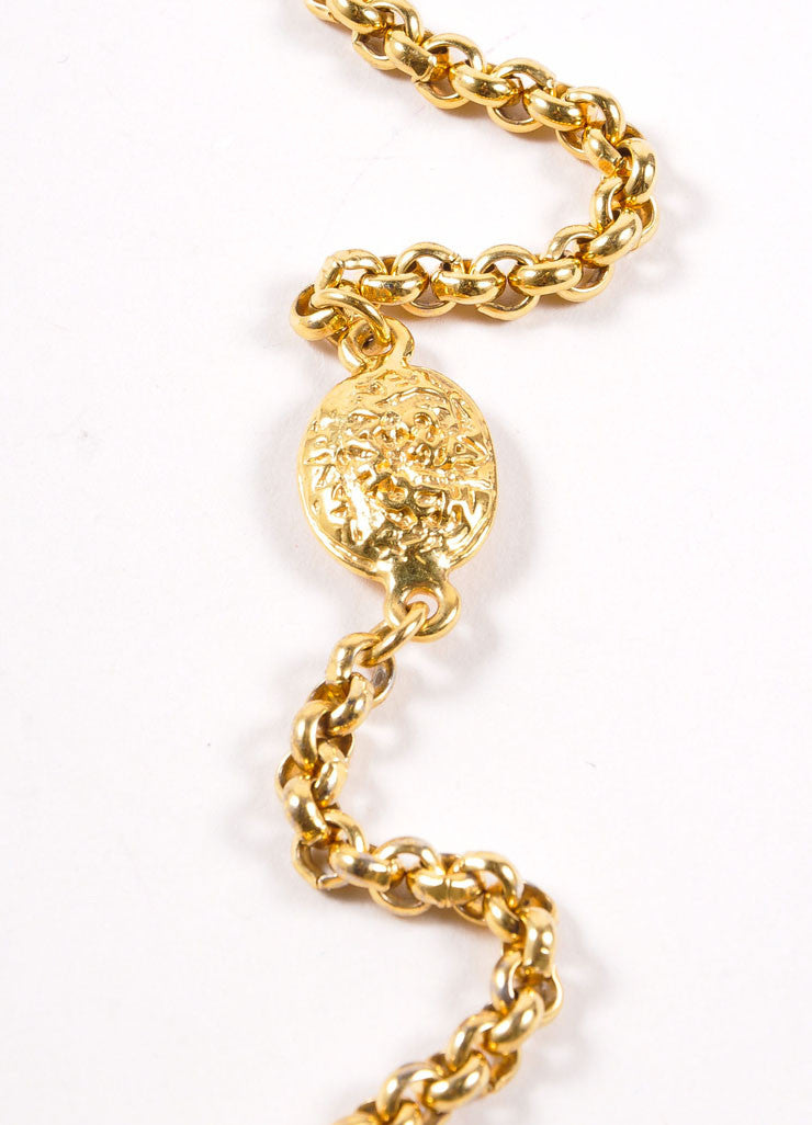 "Chanel Gold Toned ""CC"" Four Leaf Clover Pendant Necklace Closure"