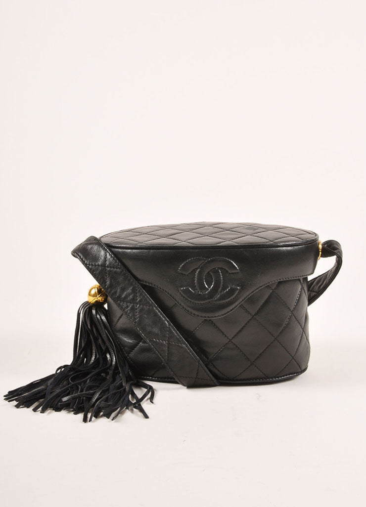 Chanel Black Quilted Lambskin Leather Tassel Vanity Case Bag Frontview