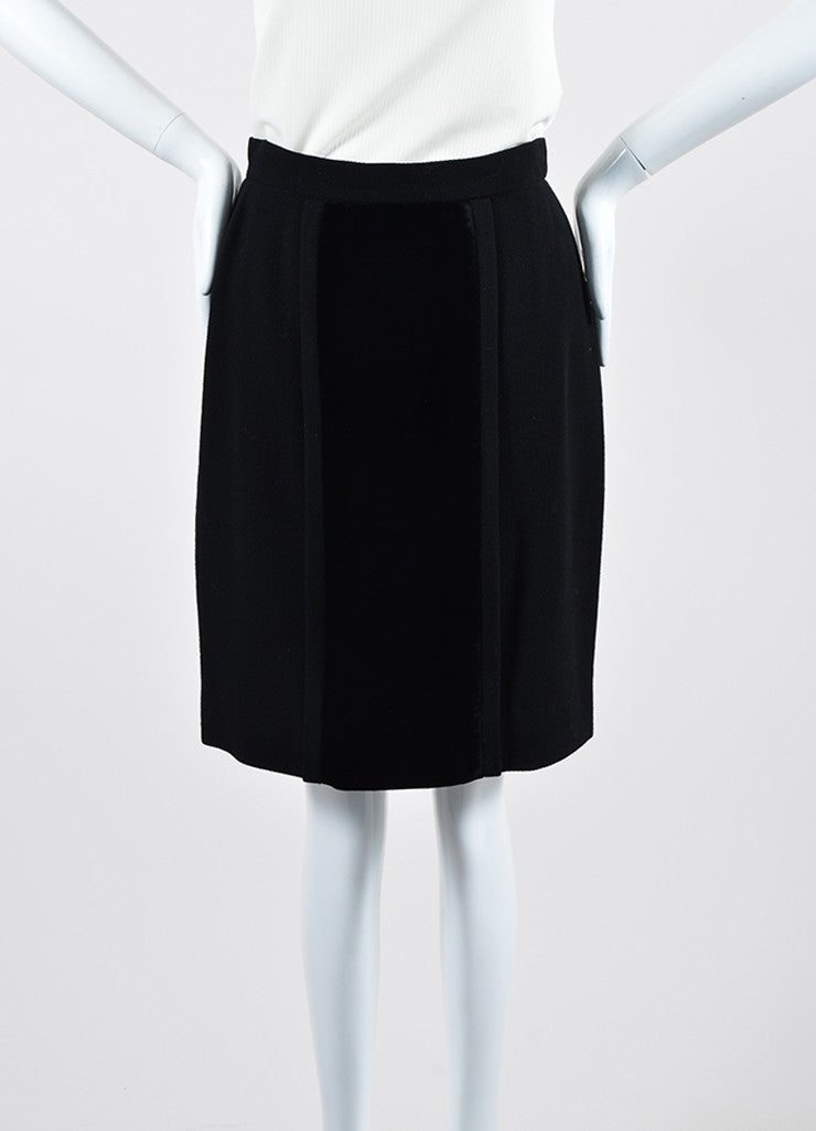 Black Chanel Wool and Velvet Pencil Skirt Frontview