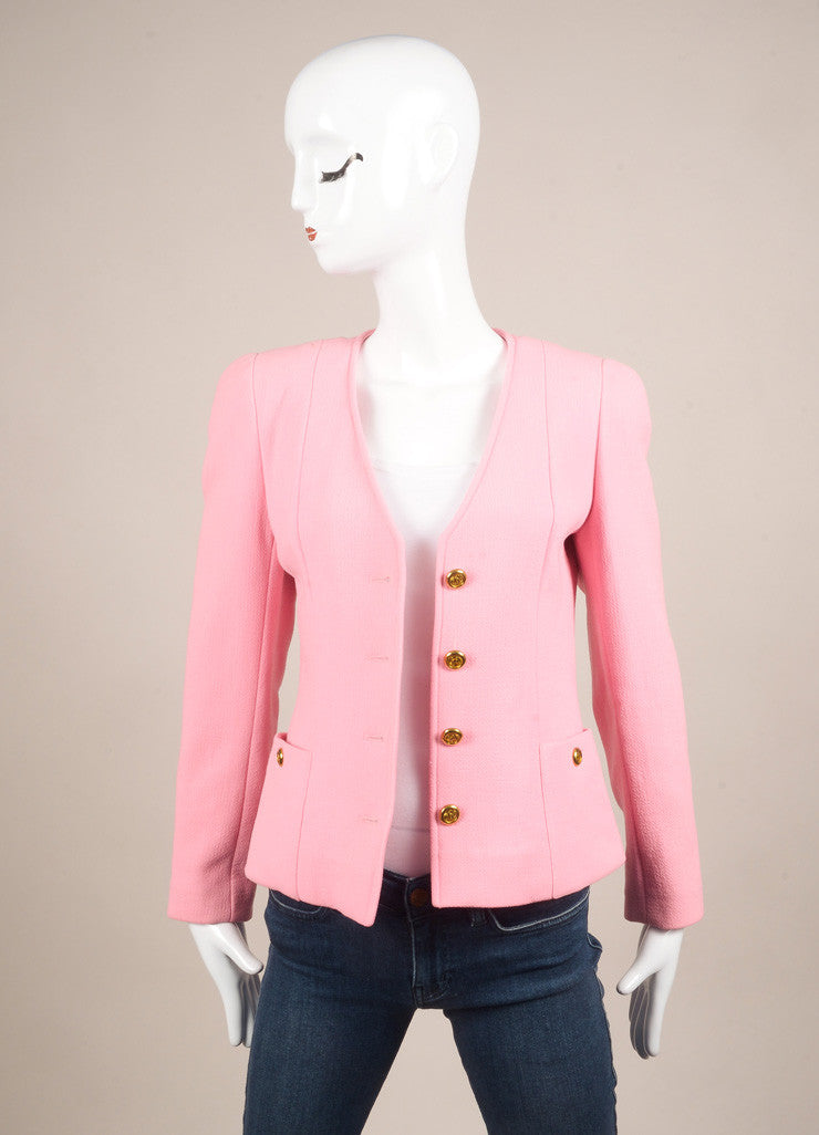 "Chanel Pink ""CC"" Button Crepe Wool Collarless Jacket Frontview"