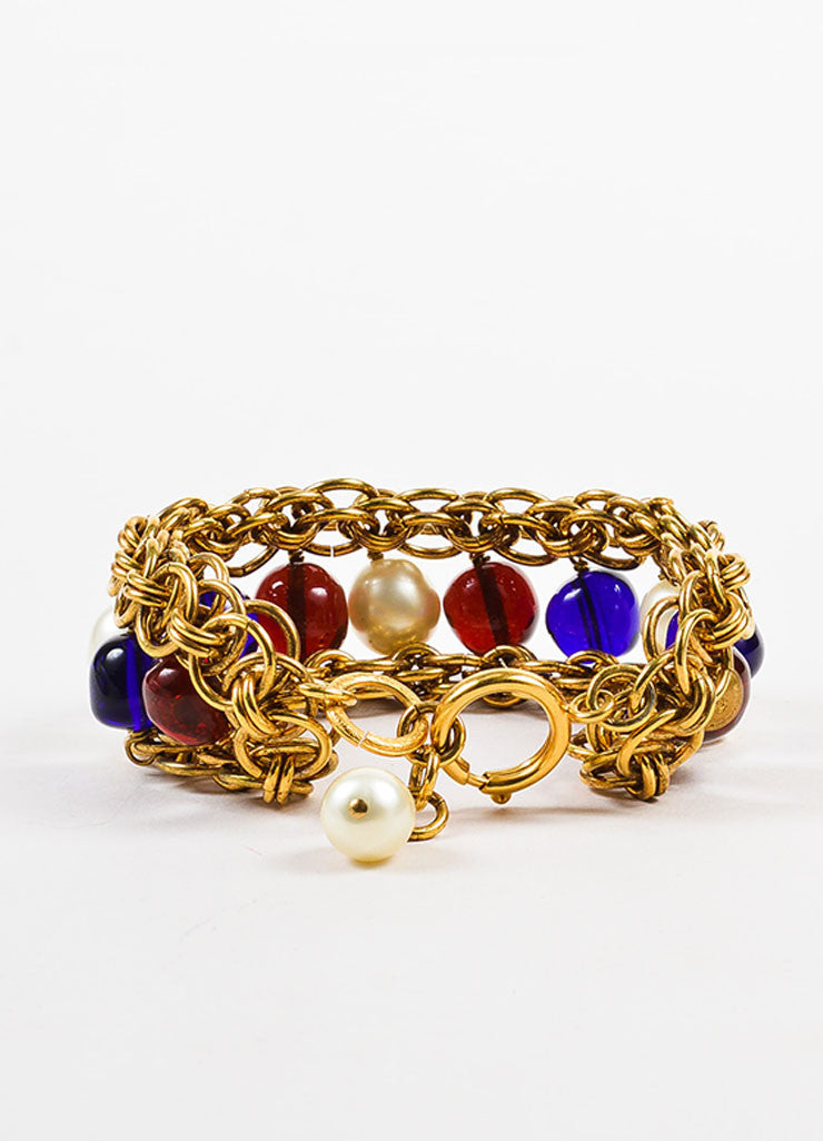 Chanel Gold Toned, Blue, and Red Faux Pearl Beaded Layered Chain Link Bracelet Backview