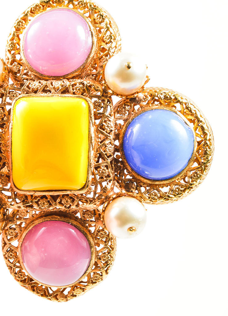 Gold Toned, Pink, and Blue Chanel Cabochon and Pearl Gripoix Pin Brooch Detail