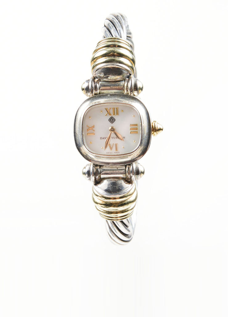 Sterling Silver and 14K Yellow Gold David Yurman Cable Watch Frontview