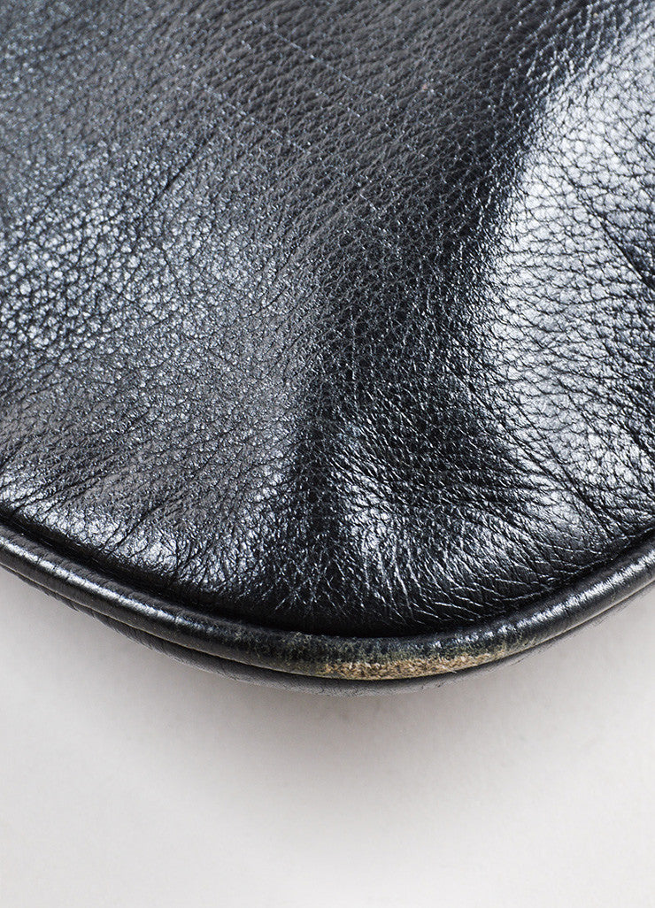 Fendi Black Leather Logo Monogram Embossed Pouch Clutch Bag Detail