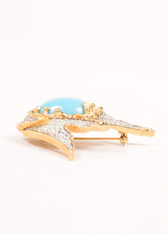 Jomaz Gold Toned Rhinestone and Turquoise Cabochon Pin Sideview