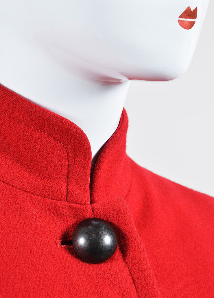 Red Yves Saint Laurent Wool Button Tailored Jacket Detail