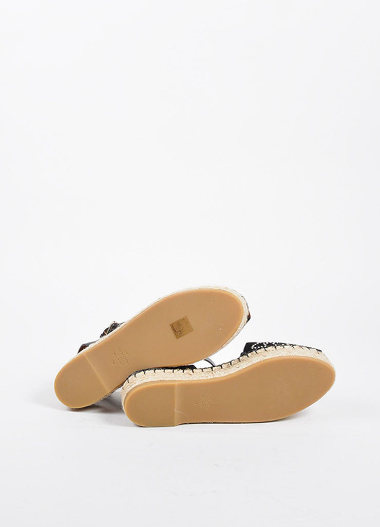 Black Valentino Suede Leather Embellished Ankle Wrap Espadrilles Sole