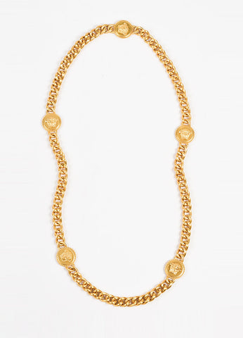 Versace Gold Toned Medusa Medallion Chain Necklace Frontview