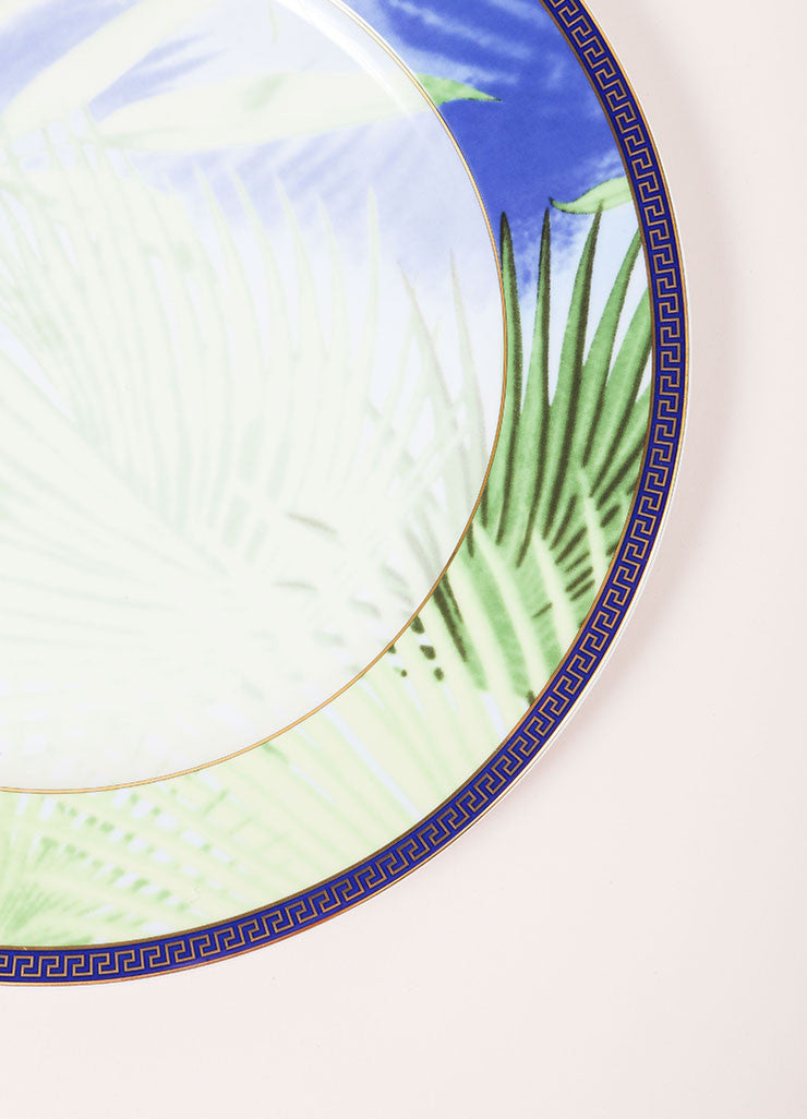 "Versace Rosenthal Green and Blue Leaf Print ""Jungle"" 12 inch Service Plate Detail"